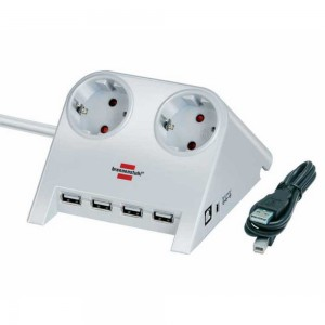 1153520122Удлинитель Brennenstuhl Desktop-Power (1.8 м, 2 розетки, USB-hub, белый, 1153520122)
